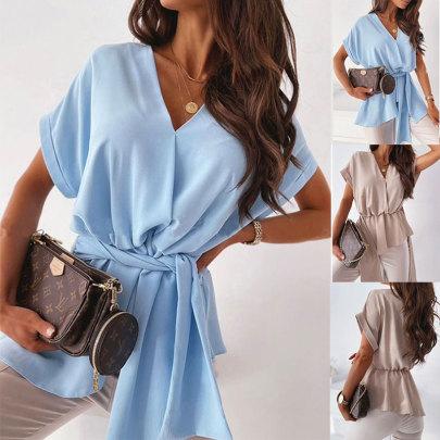 Oversized Belted Waistband Splayed Temperament Shirt NSJC61206
