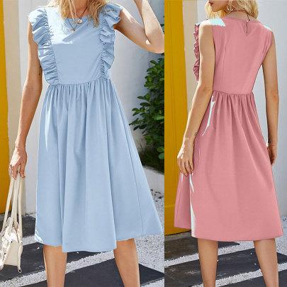 Summer New Waist Sleeveless Solid Color Dress NSJC61205