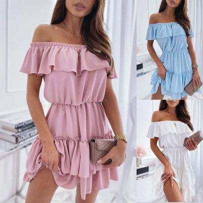 New Fashion Strapless Ruffled Waist Dress NSJC61204