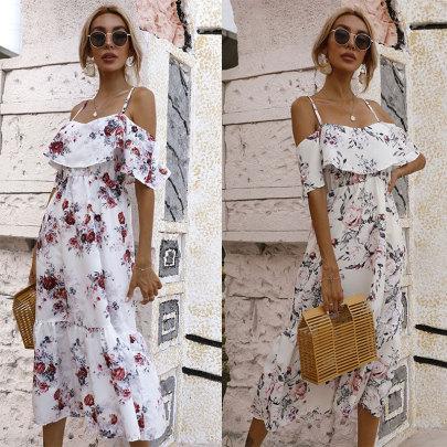 Summer New Waist Printed Strapless Sling Dress NSJC61197