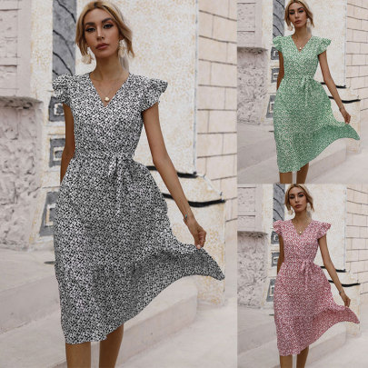 Waist V-neck Small Floral Dress NSJC61196