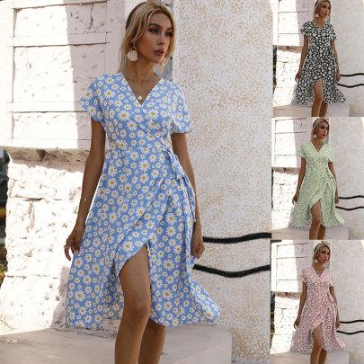 Summer New Waist Printing Slit Dress NSJC61195