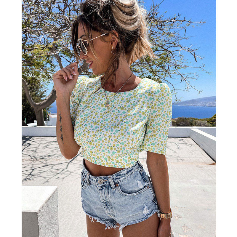 Summer new round neck small floral halter lace sexy top NSJIM61182