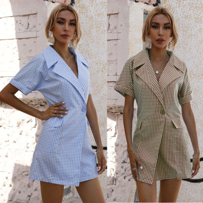 Plaid Lapel Short Sleeve Dress NSJC61173