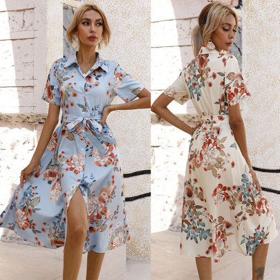 Waisted Single-breasted Printed Short-sleeved Dress NSJC61171
