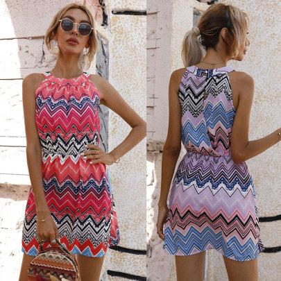 Sleeveless With Zigzag Print Dress NSJC61170