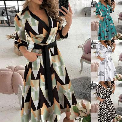 New Style V-neck Printing Lapel Tie Dress NSJC61168