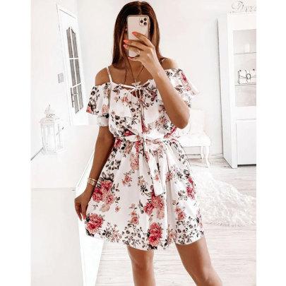 Summer New Sexy Sling Print Strapless Waist Dress NSJIM61167