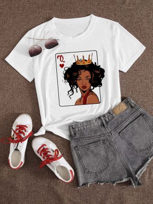 Large Size Printed Short-sleeved T-shirt NSATE61174