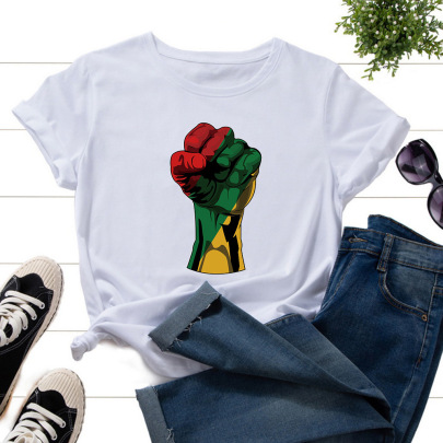 Large Size Color Fist Printing Short-sleeved T-shirt NSATE61176