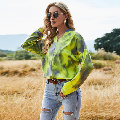 Autumn New Tie-dye Sexy V-neck Loose Fashion Casual Hedging Long-sleeved T-shirt NSLM61219