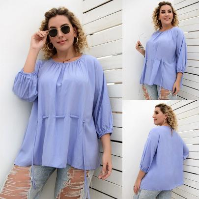 Spring And Autumn Nine-quarter Sleeves Plus Size Drawstring Loose T-shirt  NSLM61229