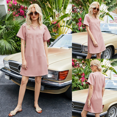 Summer New Pink A-line Sexy Small V-neck Loose Dress NSLM61230