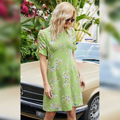 Summer Slim A-line Pleated Short Sleeve Dress NSLM61232