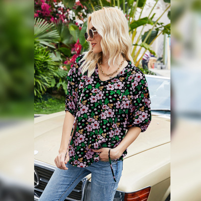 Autumn New Style V-neck Pullover Halter Five-point Sleeve Printing T-shirt NSLM61237