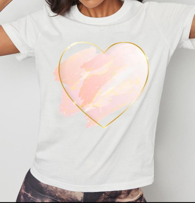 Spring/Summer Loosewith Heart-shaped Print And Short Sleeves T-shirt  NSATE61305