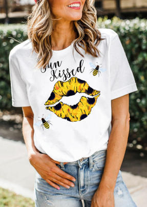 Kissed Letter Sun Flower Bee Print Casual T-shirt NSATE61311
