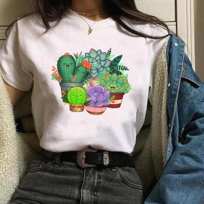 New Cartoon Print Short-sleeved T-shirt NSATE61317