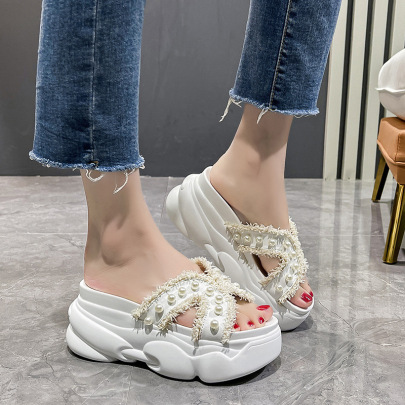 Pearl Half-drag Increased Cool Comfortable Slippers NSZSC61330