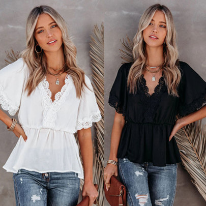 Summer New Lace Stitching Big V-neck Short-sleeved Lace-up Top NSJIM61661