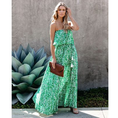Summer New Leaf Print Off-shoulder Ruffled Split Dress NSJIM61660