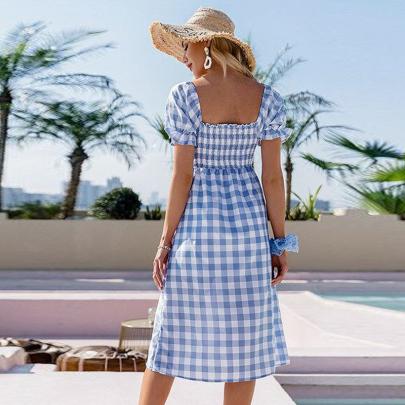 Summer Square Collar Check Waist Split Short Sleeve Dress NSSUO61657