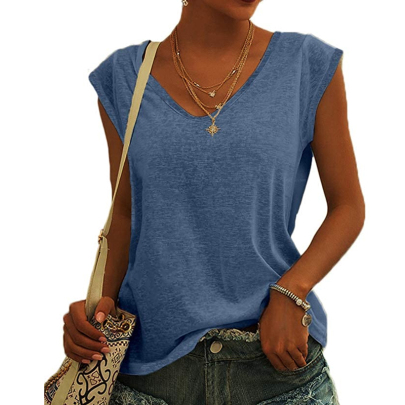 Fashion Solid Color V-neck Casual Loose T-shirt NSSUO61650