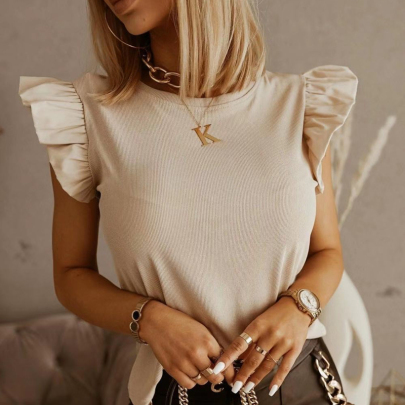 Solid Color Back Hollow Bandage Ruffle Short Sleeve T-Shirt NSSUO61648