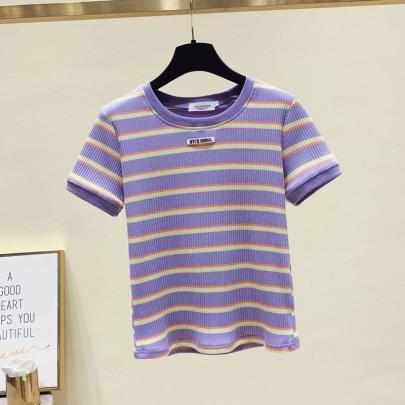Slim Striped Short-sleeved Sweater NSYAY61637