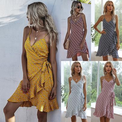 Summer New Wraparound Printing Irregular Ruffled Sling Dress NSYYF61425