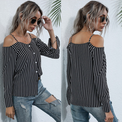 New Long-sleeved Vertical Striped Neckline Sling Chiffon Shirt NSYYF61428