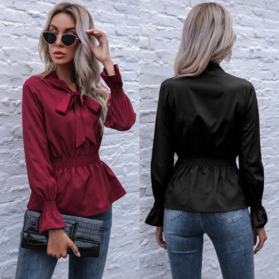 Spring New Solid Color Slim Elastic Long Sleeve Pullover Shirt NSYYF61430