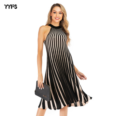 Plus Size Striped Mid-length Halter Knitted Dress NSYYF61434