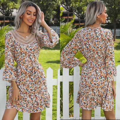 Spring New Horn Long-sleeved Floral V-neck Stitching Lace Dress NSYYF61436