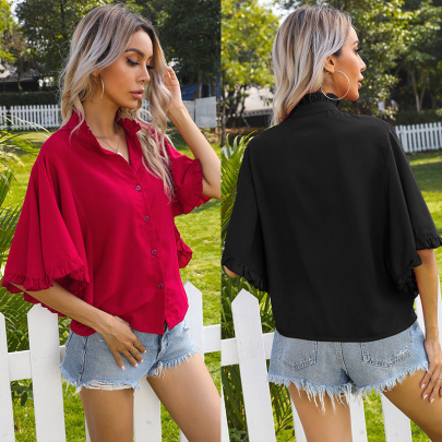 Summer New Fashion Solid Color Solid Color Ruffled Short-sleeved Ruffled Shirt NSYYF61437