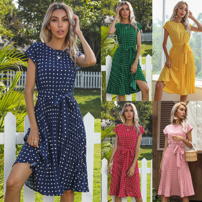 Summer New Mid-length Polka-dot Round Neck Short-sleeved Lace-up Dress NSYYF61438