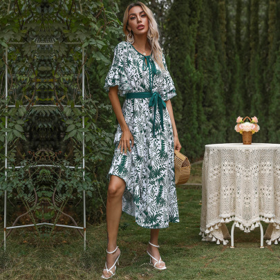 Summer New Chiffon Print V-neck Lotus Leaf Sleeve Lace Long Skirt Dress NSYYF61449