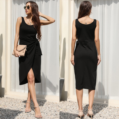 Summer New Black Solid Color Dress NSYYF61450