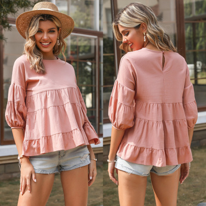 Summer New Solid Color Round Neck Sleeves Cotton And Linen T-shirt NSYYF61452