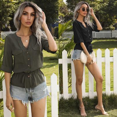 New Summer Short-sleeved Solid Color V-neck Lace-up Pocket Shirt NSYYF61456