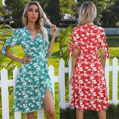 Summer New Style Floral Irregular Bow Short-sleeved Dress NSYYF61460