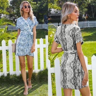 Summer New Tie-dye V-neck Wrap Style Lace Irregular Dress NSYYF61461