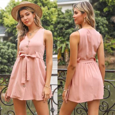 Summer New Hot Sale Solid Color Short V-neck Lace-up Vest Dress NSYYF61463