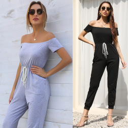 summer new one-shoulder strapless short-sleeved lace-up solid color jumpsuit NSYYF61465