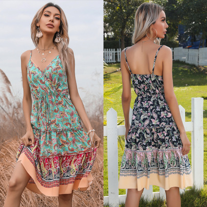 Summer New Lace Chiffon Floral Sexy Sling Dress NSYYF61467