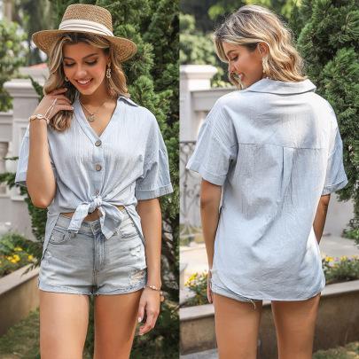 Summer New Solid Color Short-sleeved Split Loose Shirt NSYYF61473