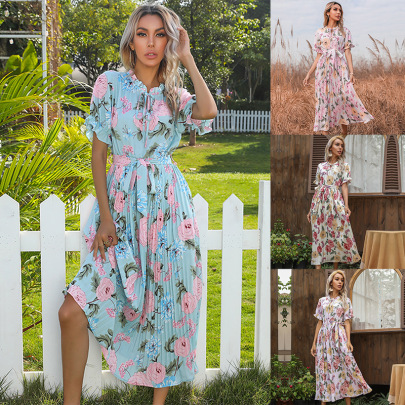 Printed Ruffled Short-sleeved Double Drawstring Pleated Dress NSYYF61477