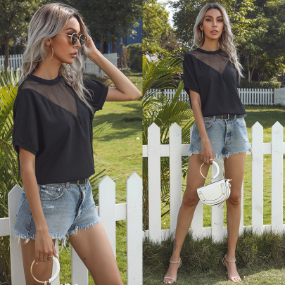New Chiffon Summer Hollow Solid Color Round Neck Short-sleeved Shirt NSYYF61478