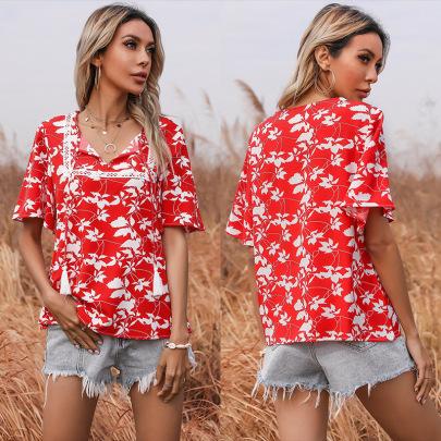 Summer New Print Short-sleeved Lace Stitching Lace V-neck Shirt NSYYF61480