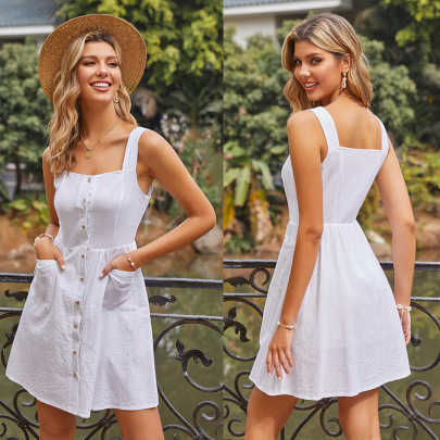 Summer New Cotton And Linen Solid Color Pocket Button Vest Dress NSYYF61482
